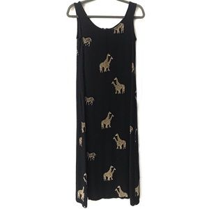 Vintage Safari Print Midi Dress